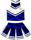 Little Girls' Cheerleader Cheerleading Outfit Uniform Costume Cosplay Blue/White (M/5-8)