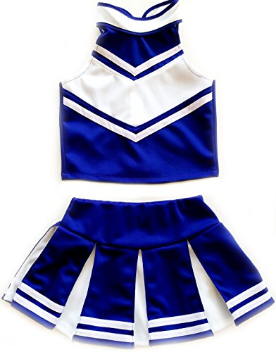 Little Girls' Cheerleader Cheerleading Outfit Uniform Costume Cosplay Blue/White (M /5-8)