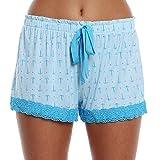 WallFlower Luxury Soft Women Sleepwear Printed Pattern Short with Crochet Trim Loungewear for Ladies - Anchor Away - Blue, Medium