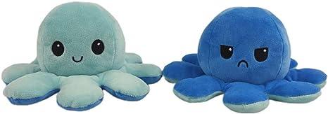 Image of Juguetes de Felpa de Pulpo de Doble Cara, Linda muñeca de Pulpo con Tapa, muñeca de Animales de Peluche de Pulpo Reversible Suave Regalos creativos de Juguete para niños Amigos de la Familia