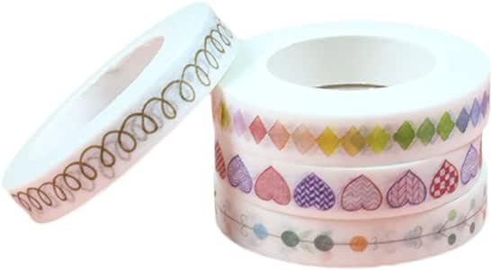 JUNGEN 4 Rolls Washi Tape Arco Iris Lindo Cinta Adhesivas