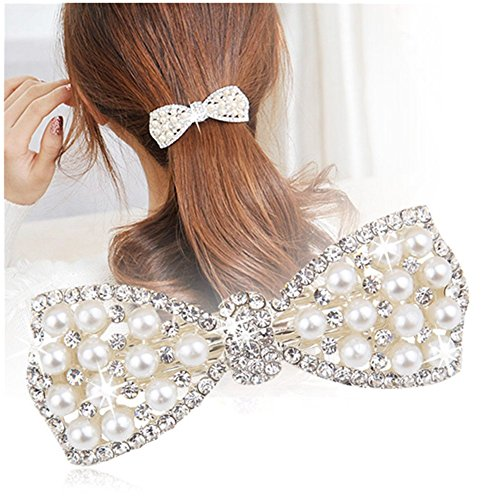 Casualfashion 1Pcs Korean Style Crystal Rhinestone Hair Barrettes Butterfly Pearls Hair Clips Pins for Women Girls (Silver) (Rhinestone Korean)