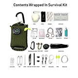 lxn 29 in 1 Emergency Survival Kit Outdoor First Aid Kit with Knife Blade Fire Starter Paracord Compass Fishing Tools for Camping Hiking Biking Travelling or Adventures