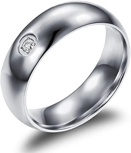 Bishilin Stainless Steel 6MM Silver Men Zirconia Promise Ring Engagement Bands Size 10