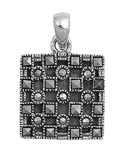 Square Pendant Simulated Marcasite .925 Sterling Silver Charm - Silver Jewelry Accessories Key Chain Bracelet Necklace Pendants