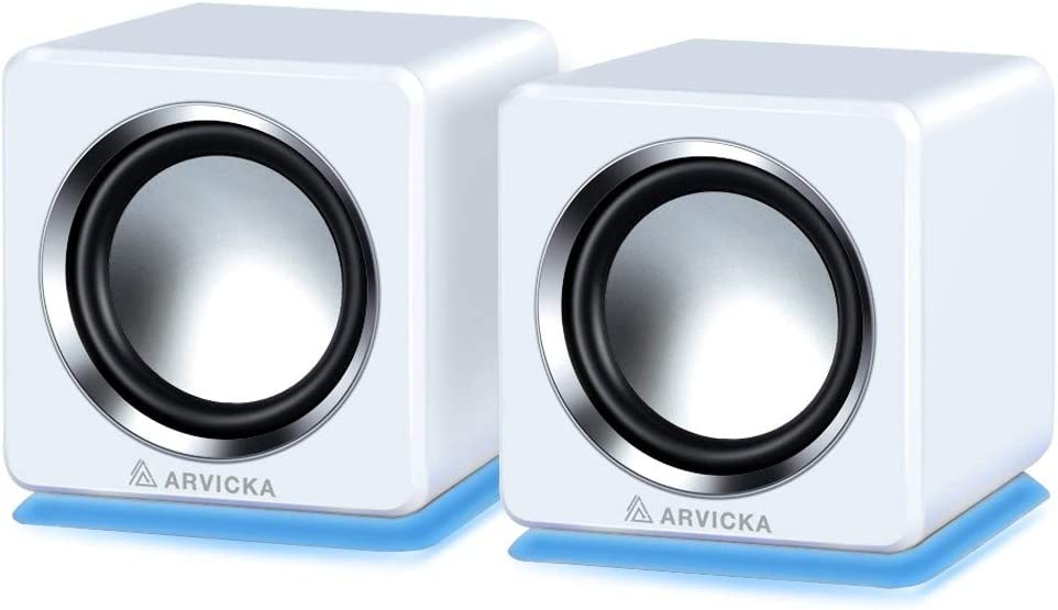 ARVICKA Computer Speakers- Small Wired External Laptop Speakers 2.0 Channel Mini Desktop Computer Speakers White