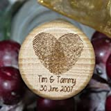 Personalized Laser Engraved Wood Wine Stopper - Hearts and Calligraphy Wedding Favor Series