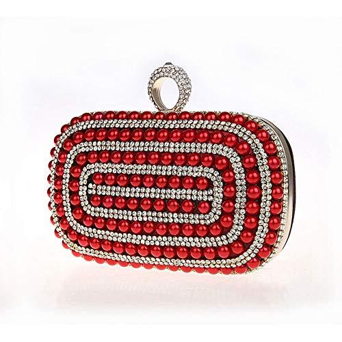 À pour Soirée Clutch De À Cocktail Broderie Womne's discothèques Soirée Noce Sequin Sac Red de Cristal Mariage Red Sac Purse Color Perle Main Main fCYqfxT8