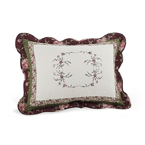 Modern Heirloom Collection Brooke Cotton Filled Standard Sham, 20 by (Floral Sham)