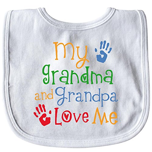 (Inktastic - My Grandma and Grandpa Love Me Baby Bib White 26a30 )