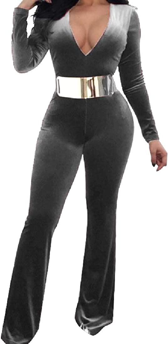 YUNY Women Slim Casual Open Chest Mid Waist Gold Velvet Jumpsuits Grey M