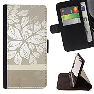 DEVIL CASE - FOR Samsung Galaxy S3 Mini I8190Samsung Galaxy S3 Mini I8190 - Floral Grey White Clean Wallpaper Pattern - Style PU Leather Case Wallet Flip Stand Flap Closure Cover