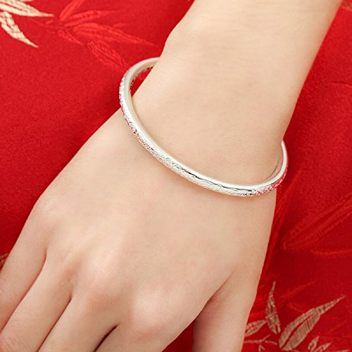 Weekly Promotion 30% Discount Women's 999 Solid Sterling Silver Flower Carved Bangle Cuff Bracelets 21g Weight for Wedding Gift