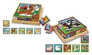 Melissa & Doug Wooden Cube Puzzles Set - Pets and Farm