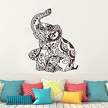 Wall Decal Decor Elephant Wall Decal Stickers  Elephant Yoga Wall Decals  Floral Design Indie Wall