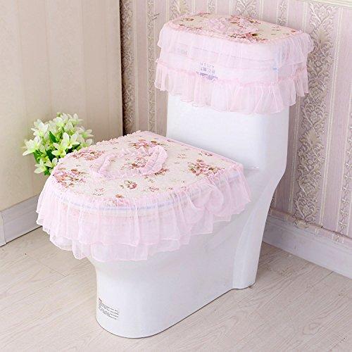 Lqchl Waterproof Universal Zipper Lace Toilet Seat Three Sets,Orange