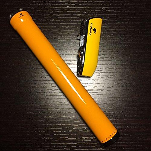 Yellow Single Cigar Tube Humidor W/ Cigar Lighter & Punch 2 In 1 Gift Set ()