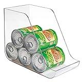 plastic can holder - mDesign Large Standing Kitchen Can Dispenser Storage Organizer Bin for Canned Food, Soup, Dog Food, Pop/Soda - Compact Vertical Holder - BPA Free, Food Safe Plastic - Clear