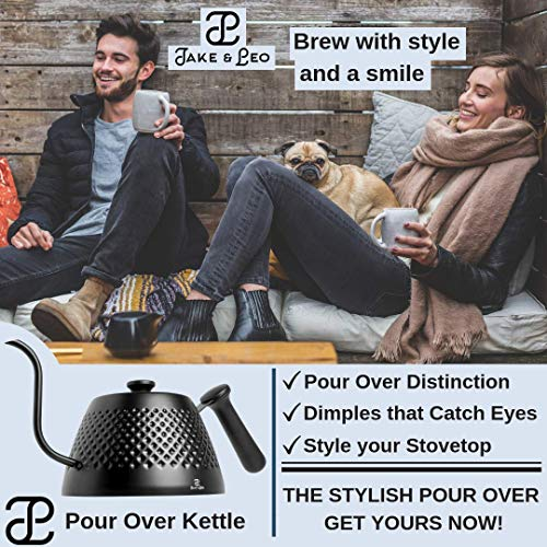 Jake & Leo Pour Over Kettle - Premium Stylish Dimpled Design, Stainless Steel - Gooseneck Specialty Kettle for Kitchen Stovetop - 34oz, Matte Black, Long Spout for Boiling, Pouring; Brew Coffee & Tea by Jake & Leo (Image #4)