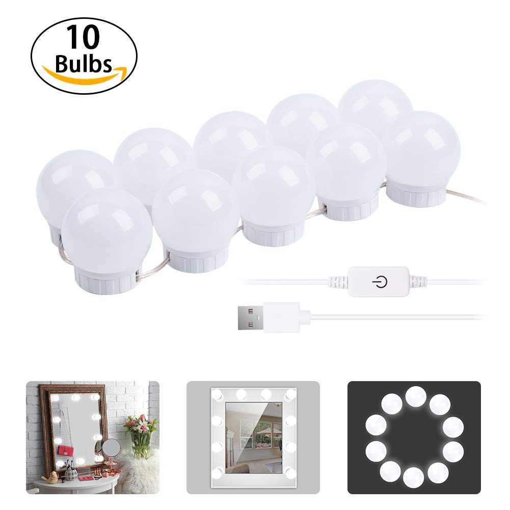 Vanity Mirror Lights, 10 Lights LED Vanity Mirror Lights Kit with Dimmable Light Bulbs, USB Power Supply Lighting Fixture Strip for Makeup Vanity Table Set in Dressing Room (Mirror Not Include)