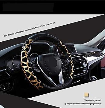 Febelle Coprivolante per Auto da Donna 38 cm Modello Leopardo Pelle Quattro Stagioni Universale Leopardo Oro