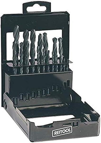 Reit 3631 - Caja de metal vacía, brocas HSS cilíndricas, taladro perforado de 1 a 13 mm, escala de 0,5 mm, portapuntas de 25 agujeros, soporte barnizado negro, accesorio multimarca puntas no