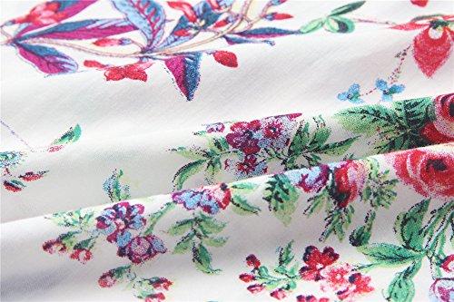 Vestido Largo Verano Bohemia Cuello en V sin mangas Vestido Elegante Stampa Flor Falda de Noche Novia para Party Fiesta Mar Playa Beach Dress Multi-Size-LATH.PIN Rojo