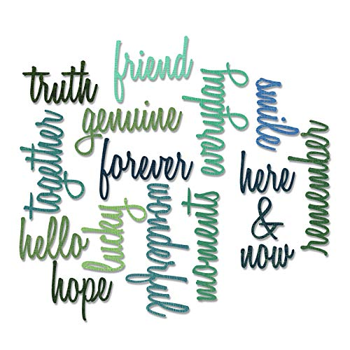 (Sizzix Thinlits Die Set 660225, Friendship Words Script by Tim Holtz, 16 Pack, Multi Color, One Size,)