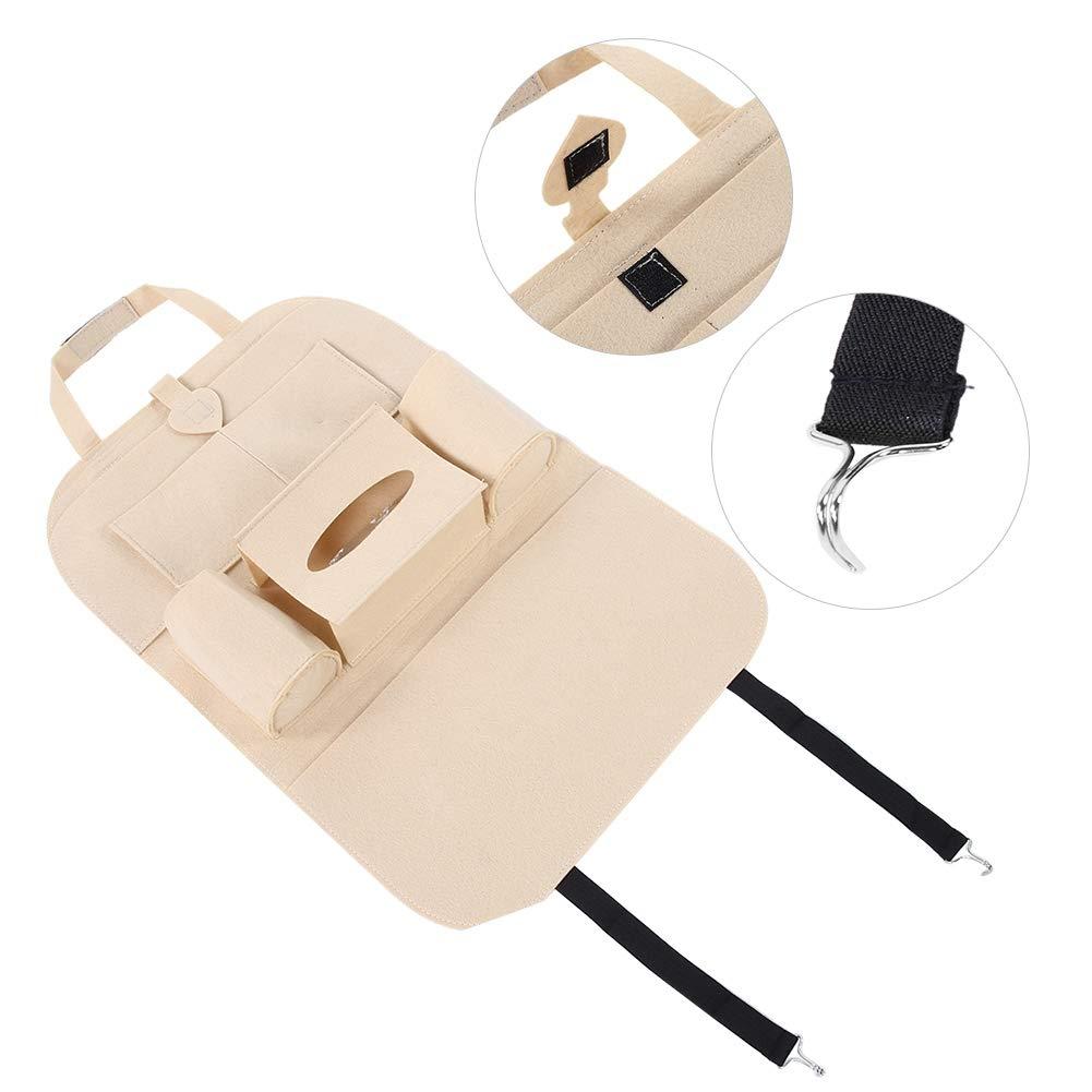 Car Rear Seat Organizer Beige Universal Multi-pockets Car Rear Seat Storage Bag Organizer Holder