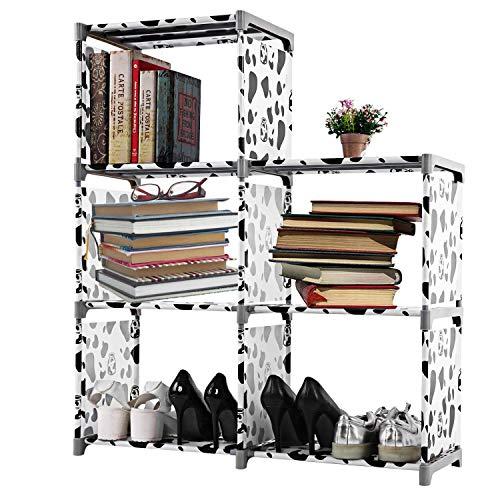 Hosmat Book Shelf 5 Cube 3 Tier Bookcase Bookshelf Storage Bins Black White Pattern
