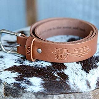 product image for No. 101 Fine Leather Belt in Chestnut Brown – Personalized Custom Belt – with Secret Message – Rounded Nickel Buckle