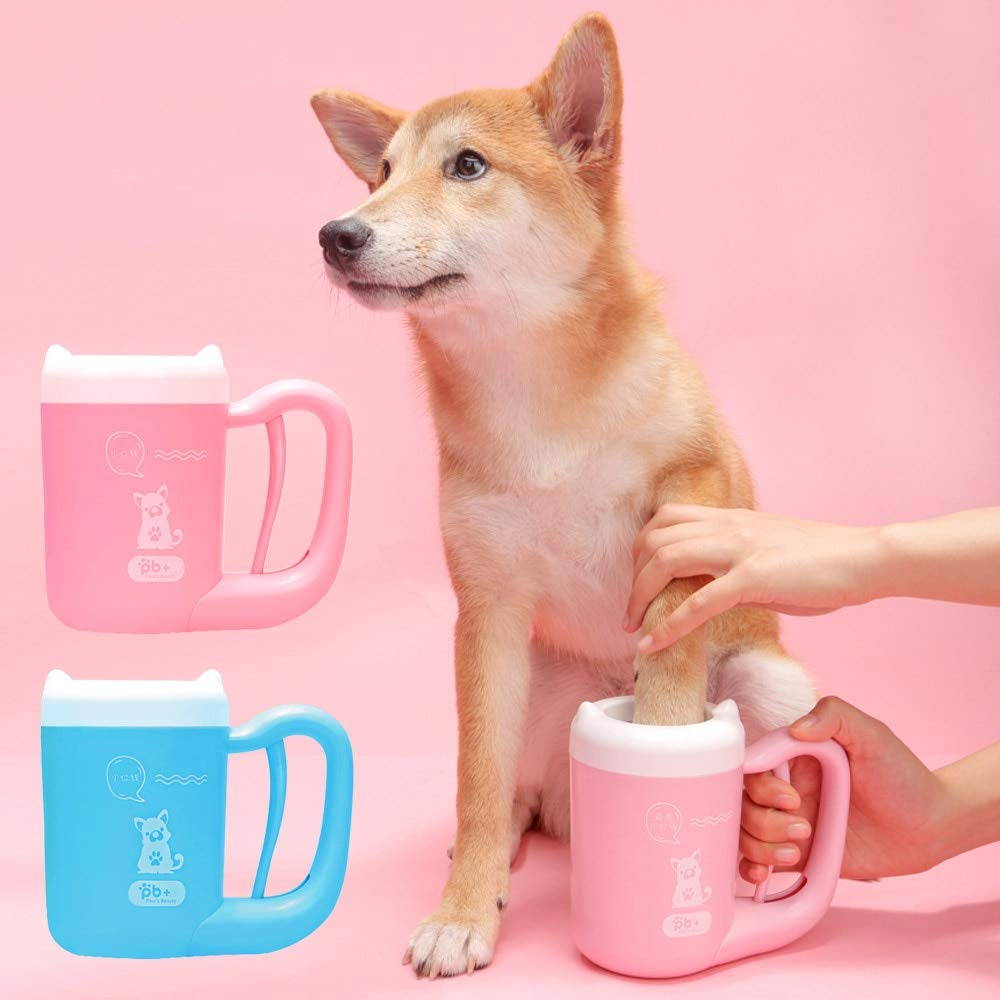 KBWL Pet Cat Dog Foot Cleaning Claw Cleaning Tool Manual Rotation Cleaning Cup Soft Silicone Suitable for Small and Medium Dogs Large Dog Grooming Size M Pink