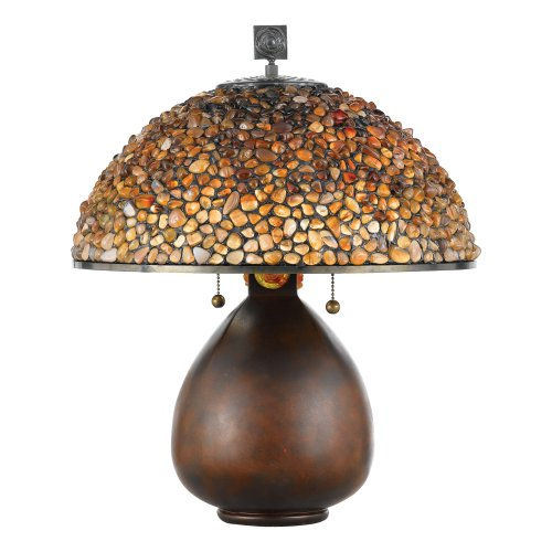 Quoizel Tiffany 20 1/2 -Inch Table Lamp with Fossil Stone Shade,Cinnamon Finish (Quoizel Wood Table Lamp)