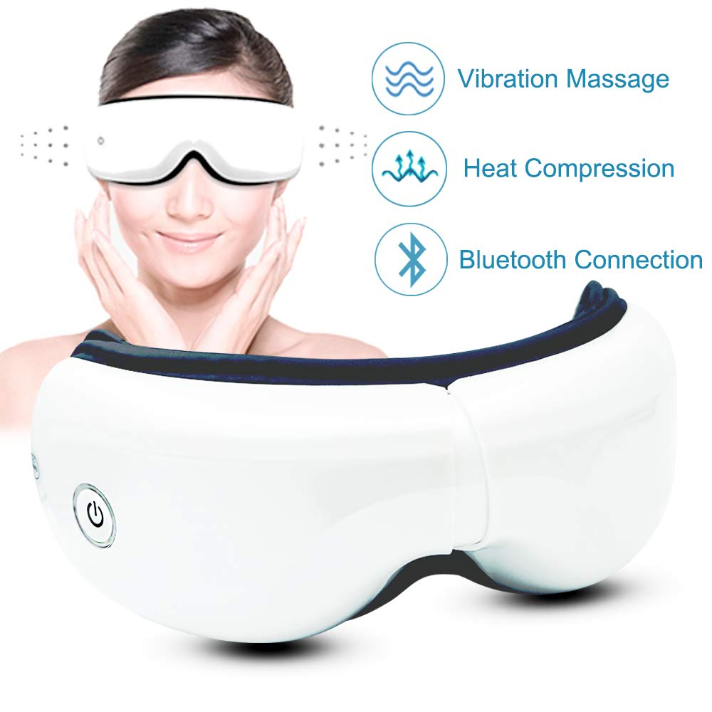 Eye Massager with Heat and Air Pressure, Vibration, Music for Eye Relief, Foldable Temple Massager for Dry Eye, Eyes Stress by Feeke