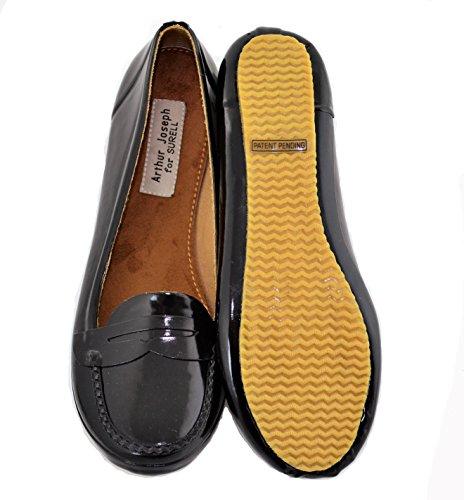 AJS Womens Rubber Shoes (Moc Flats) Size 10 Black