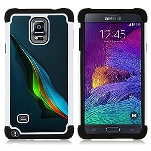"""Samsung Galaxy Note 4 IV / SM-N910 - 3 en 1 impreso colorido de Altas Prestaciones PC Funda chaqueta Negro cubierta gel silicona suave (Blue Music Wave azul abstracto colorido"""")"""