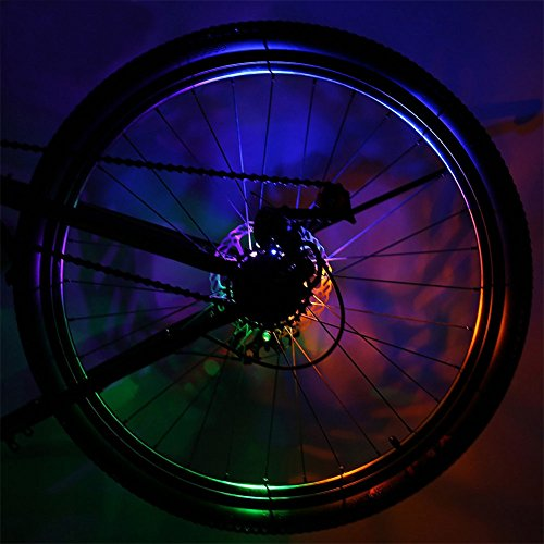 RUNACC Colorful Bike Wheel Lights Bright Bicycle Tire Lights Waterproof Bicycle LED Light with 3 Lighting Models, Including LR44 Batteries, 3.7''x3.7''