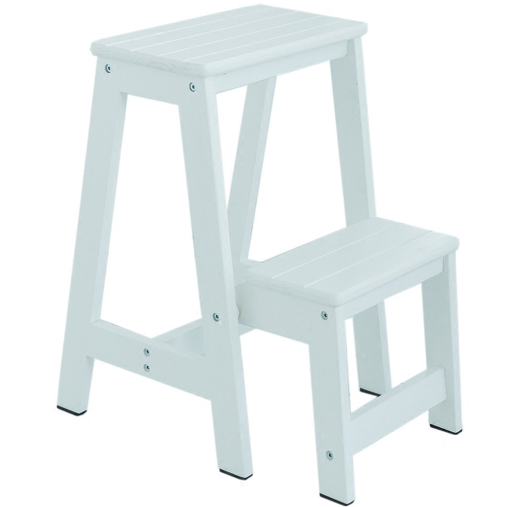 2 Tier Stairs Stool Solid Wood Folding Ladder Stool Indoor Non-Slip Tread High Ladder Multi-functional Safety Stepladder Stool, 41 * 24 * 55cm,White And Deep Walnut (Color : Milky white) Dongy