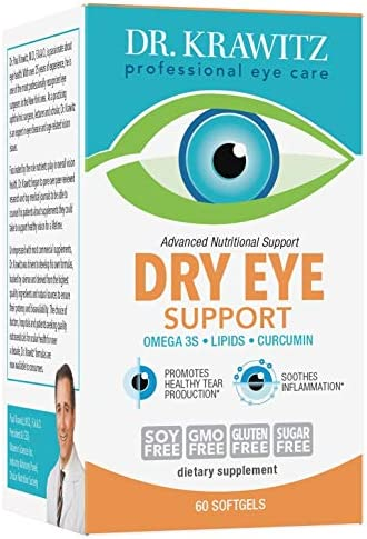 Dry Eye Support with Omega 3, Lipids Curcumin 60 Softgels