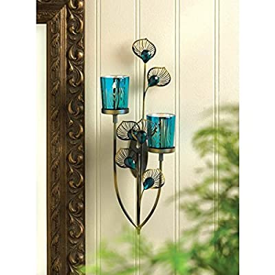 Candles PEACOCK PLUME WALL SCONCE Candle Holder Candleholder Blue Glass Iron Metal Den Room Bar