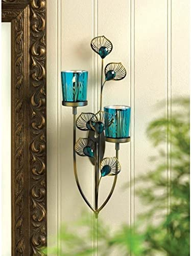 Koehler Home Decor Exotic Peacock Plume Wall Sconce