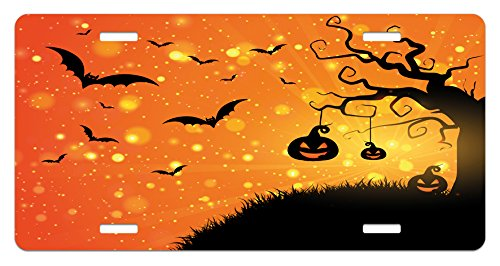 Lunarable Halloween License Plate, Evil Night Swirled Branches Haunted Forest Hill, High Gloss Aluminum Novelty Plate, 5.88