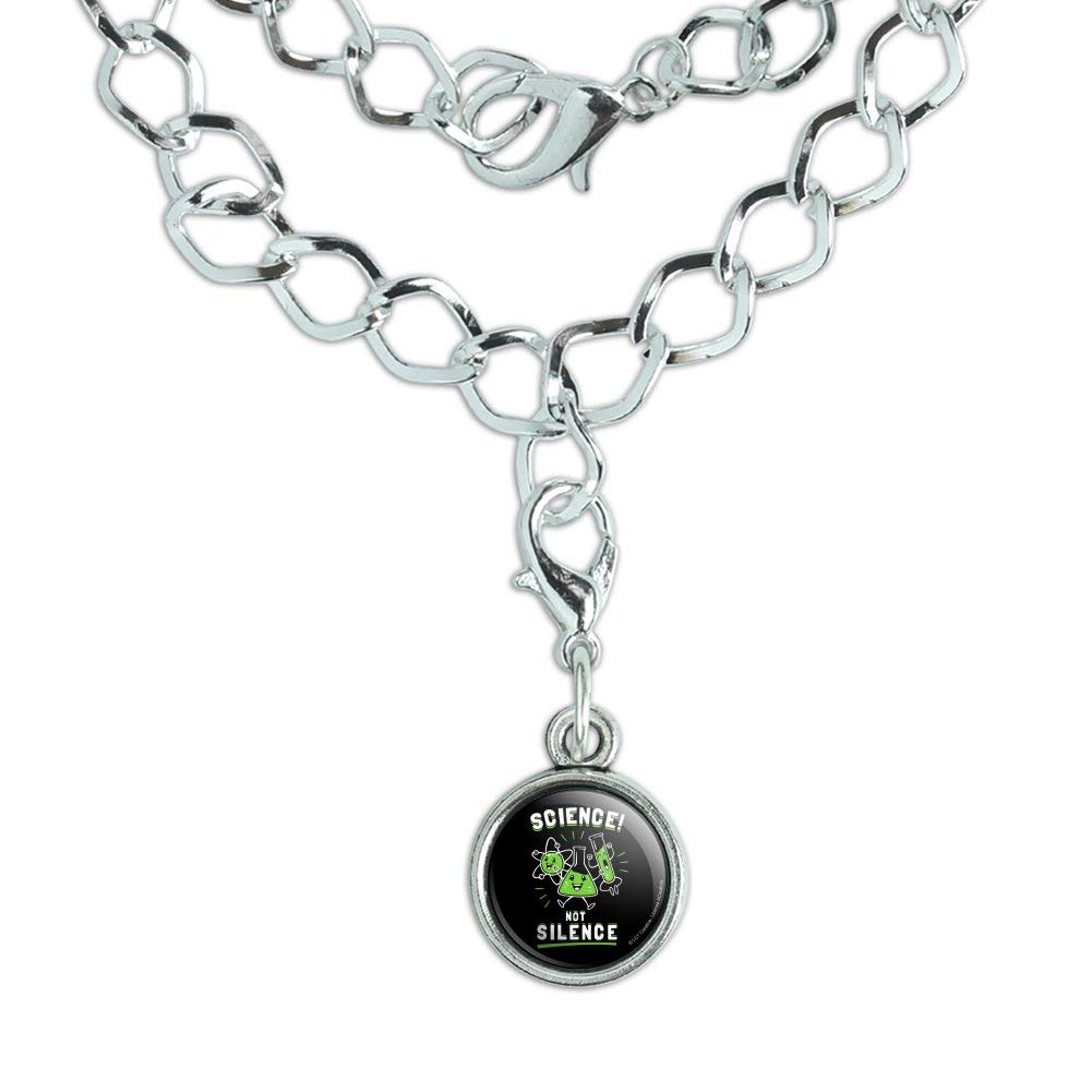 GRAPHICS /& MORE Science Not Silence Funny Humor Silver Plated Bracelet with Antiqued Charm