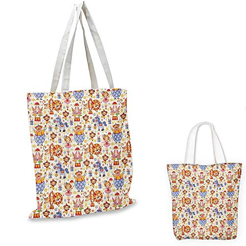 (Kids shopping bag Carnival Circus Theme with Cheerful Mascots Monkey Lion Bunny Acrobat Girl and Clown foldable shopping bag Multicolor. 12