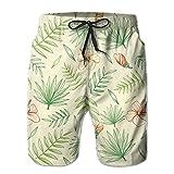 Adults Fusang Flower Palm Leaf Boardshorts Drawstring Quick Dry Board Shorts