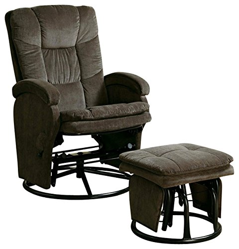 [Coaster Recliner with Ottoman Reclining Glider in Chocolate Chenile] (Reclining Glider And Ottoman)