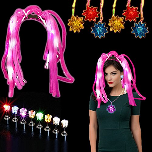Dazzling Toys Party Accessories Set - 24 Crystal Star Necklaces, 1 Headband + Free Earrings (4 Pairs) (Rock Star Halloween Costume Ideas For Kids)