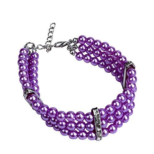 succeedtop Pet Necklace Pearl Collar Dog Jewelry Girl Dog Collars Dog Designed As Teacup Dog Collar, Dog Jewelry Collar, Crystal Dog Collar, Breakaway Cat Collars Or Diamond Cat Collar. (S, Purple)]()