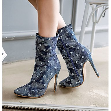 Navy Light Blue Party Stiletto amp;xuezi Boots 4 Western Denim 4in light Gll 4in Boots Evening Fashion Boots Fall Winter Heel 3 Women's blue Cowboy Blue amp; qaHwUP