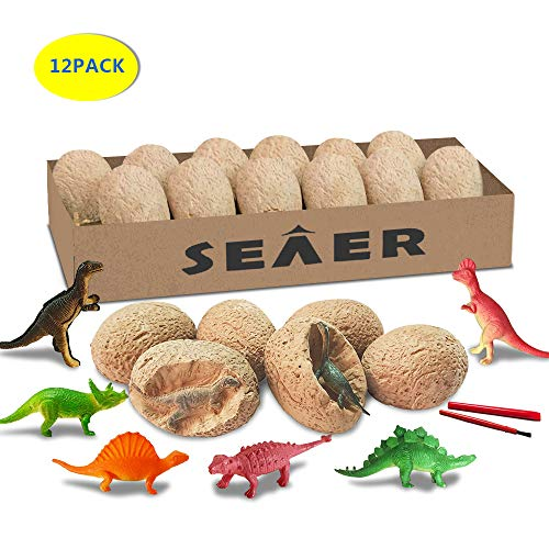 SEAER Dino Egg Dig Kit, 12 Pcs Easter Dinosaur Fossil Excavation Eggs Kit, Great Dino Eggs Toy, Best Science STEM Gift and Party Favors for ()